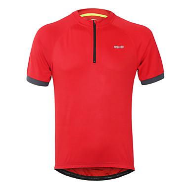 Arsuxeo Herre Kortærmet Cykeltrøje - Sort Lysegul Rød Helfarve Cykel Trøje Toppe Hurtigtørrende Sport Polyester Bjerg Cykling Vej Cykling Tøj / Elastisk