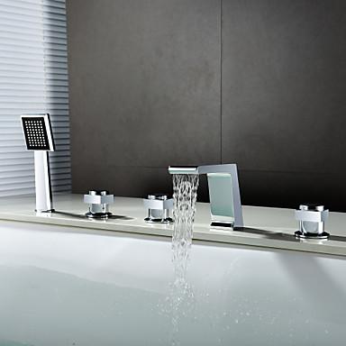 Bateria Wannowa - Wodospad Zawiera prysznic ręczny Chrom Szeroko rozstawiona Trzy uchwyty pięć otworów