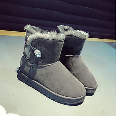 Cuero Dedo Mujer redondo de nieve Botas Nobuck Zapatos Otoño Ante PU Gemelo Botas Negro de Tacón Mitad Confort Invierno 06439006 Plano 6r56TqZwx