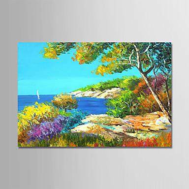 Hang-Malowane obraz olejny Ręcznie malowane - Krajobraz Nowoczesny Płótno / Rozciągnięte płótno