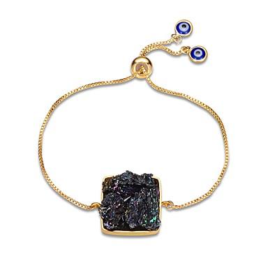 abordables Bracelet-Chaînes Bracelets Femme Obsidienne Gemme Plaqué or Médaillon Classique Européen Mode énorme Bracelet Bijoux Noir Forme Géométrique pour Soirée Quotidien