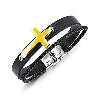 Herrn Manschetten-Armbänder / Armband - Leder Kreuz Klassisch, Retro, Europäisch Armbänder Gold / Schwarz / Silber Für Geschenk / Normal