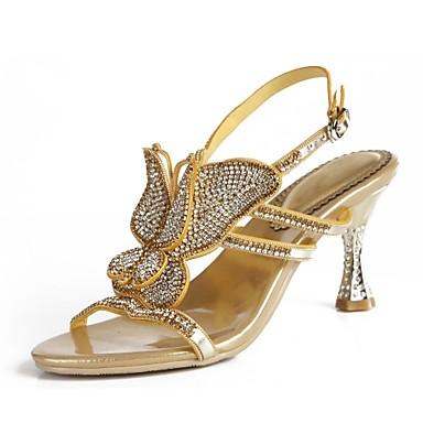 voordelige Damessandalen-Dames Sandalen Open teen  Strass / Kristal / Sprankelend glitter Polyurethaan Modieuze laarzen Lente / Zomer Paars / Rood / Blauw / Feesten & Uitgaan / Gesp / Feesten & Uitgaan