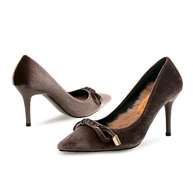 Noeud Café à Flocage 06407007 Aiguille Automne Chaussures Femme Plume Confort Bout Talon Hiver Talons Fourrure pointu Nouveauté Chaussures zqZRaRxUw