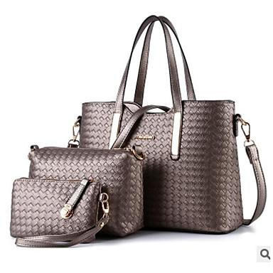 hesapli Çanta Setleri-Kadın's Fermuar Çanta Setleri Çanta Setleri PU 3 Adet Çanta Seti Siyah / Gümüş / Şarap / Sonbahar Kış