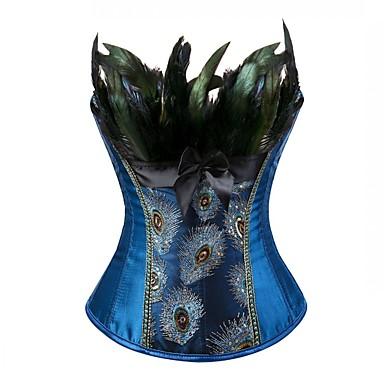 abordables Lencería de Mujer-Mujer Cordones Corsé Superior Estampado Animal Bordado - Medio Poliéster Azul Piscina