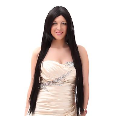 Peruki syntetyczne Kinky Straight Włosy syntetyczne Czarny Peruka Damskie Bardzo długo Peruka naturalna Bez czepka