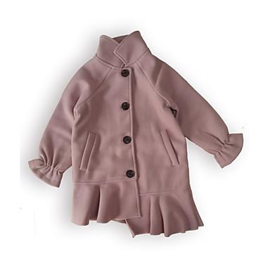 Brzdąc Dla dziewczynek Solidne kolory Długi rękaw Bawełna Kurtka / płaszcz