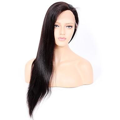 Włosy virgin Koronkowy przód Peruka Włosy brazylijskie Yaki Straight 130% 150% 180% Gęstość Peruka afroamerykańska Krótki Długo Damskie