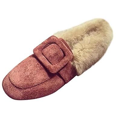 Damskie Obuwie PU Zima Comfort / Futro lining Mokasyny i pantofle Okrągły Toe Black / Brown