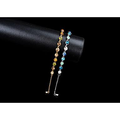 Damskie Syntetyczny Sapphire Rhinestone Kryształ górski Bransoletki i łańcuszki na rękę Bransolety Tenis - Gold Niebieski Bransoletki Na
