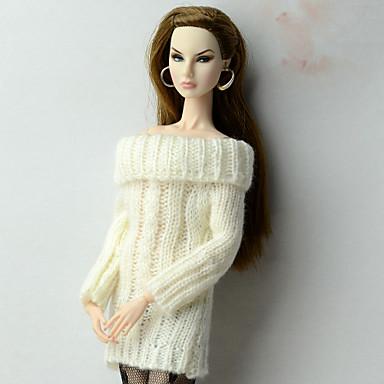 Elegancki Topy Top Dla Lalka Barbie White Materiał Wełna Mieszanka Bawełny i Lnu Jedwab / Cotton Mieszanka Top T-Back Dla Dziewczyny