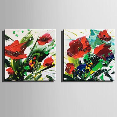 Ręcznie malowane Kwiatowy/Roślinny Kwadrat, Rustykalny Nowoczesny Brezentowy Hang-Malowane obraz olejny Dekoracja domowa Dwa panele