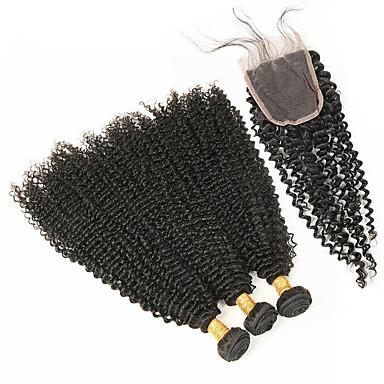baratos Extensões de Cabelo Natural-4 pacotes Cabelo Brasileiro Onda Profunda Cabelo Remy Cabelo Humano Ondulado Tramas de cabelo humano Extensões de cabelo humano