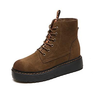 Damen Schuhe Nubukleder Winter Herbst Komfort Modische Stiefel Stiefel Runde Zehe Geschlossene Spitze Mittelhohe Stiefel Band-Bindung