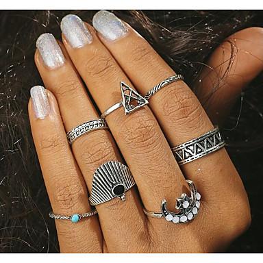 Damskie Stop Pierścionki na środek palca - 5 Geometric Shape Vintage Duże Silver Pierścień Na Codzienny