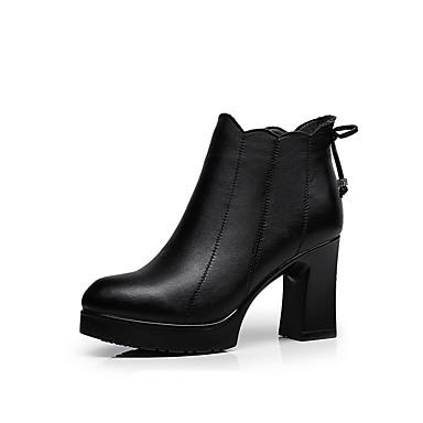 Damen Schuhe Mikrofaser Winter Flaum Futter Stiefel Runde Zehe Booties / Stiefeletten Reißverschluss Schwarz