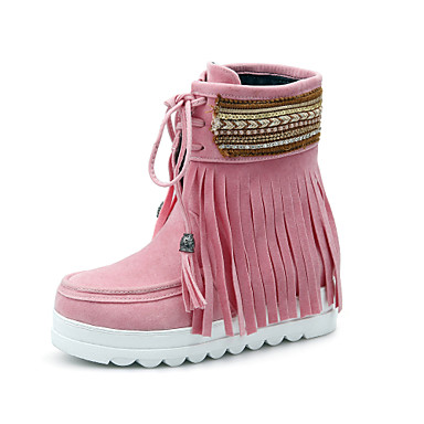 Cheville Cuir Botte Chaussures 06385195 Bout rond Noir de Bride Bottes de Femme neige Printemps Nubuck Hiver Demi Bottes Bottine Beige wax51n4q0n