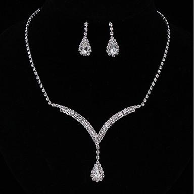 Damen Kubikzirkonia Schmuck-Set - Kubikzirkonia Einschließen Tropfen-Ohrringe / Anhängerketten Silber Für Hochzeit / Party