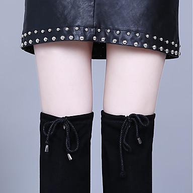 Velours la Bottes à Bottes rond Bottes Automne Femme Mode Chaussures Printemps 06373009 Noir Bout ax8q6wY5