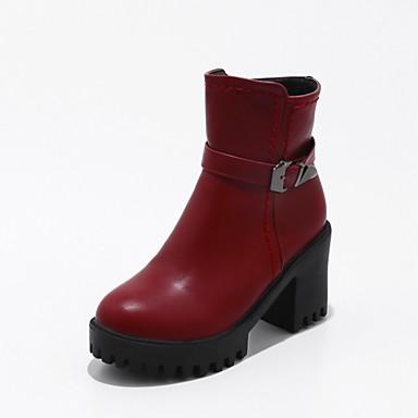 Damen Schuhe Kunstleder Herbst Winter Modische Stiefel Stiefel Runde Zehe Booties / Stiefeletten Schnalle für Normal Kleid Schwarz Rot
