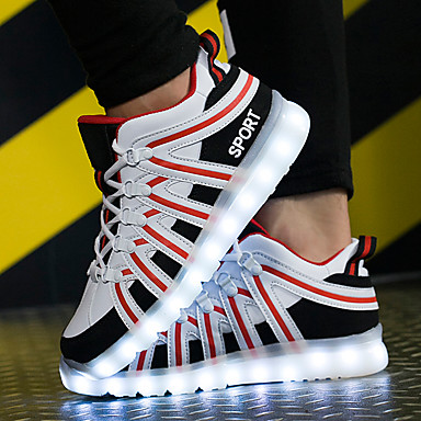 Męskie Buty Skóra PVC Derma Jesień Świecące buty Comfort Tenisówki na Casual Na wolnym powietrzu Black / White Black / Red