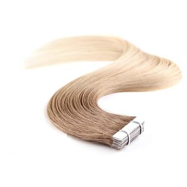 billige Hairextensions med ekte hår-Neitsi Tape Inngang Hairextensions med menneskehår Klassisk Ekte hår Hairextensions med menneskehår Dame Beige Blond