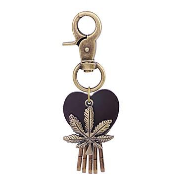Łańcuszek do kluczy Biżuteria Gold Leaf Shape Serce Skórzany Stop Vintage Modny Urlop Szkoła Męskie