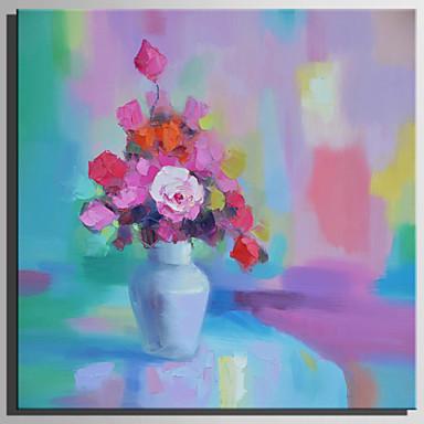 Hang-Malowane obraz olejny Ręcznie malowane - Kwiatowy / Roślinny Rustykalny Nowoczesny Brezentowy