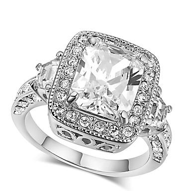 billige Motering-Dame Band Ring Kubisk Zirkonium High End Crystal 1 Sølv Zirkonium Sølv Geometrisk Form Klassisk Vintage Europeisk Bryllup Engasjement Smykker HALO Prinsesse Krone