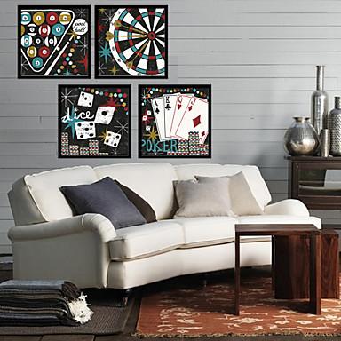 Oprawione płótno Zestaw w oprawie Sport Wypoczynek Wall Art, PVC (polichlorek winylu) Materiał z ramą Dekoracja domowa rama Art Living