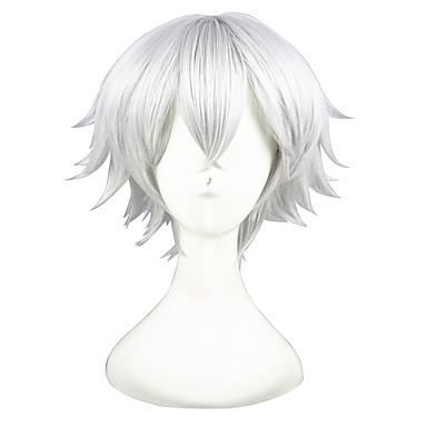 Peruki syntetyczne Kinky Straight Włosy syntetyczne Biały Peruka Damskie Krótki cosplay peruka Bez czepka