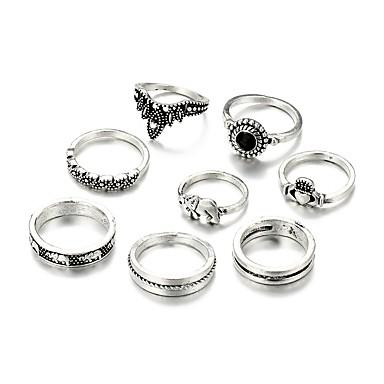 Damskie Stop Pierścionki na środek palca - Nieregularny Metaliczny Rock Silver Pierścień Na Codzienny Bar