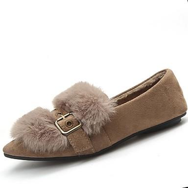 Damskie Obuwie Guma Zima Comfort Mokasyny i pantofle Pointed Toe Yellow / Khaki