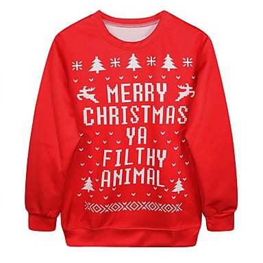 Kostiumy Św. Mikołaja Świąteczny sweter Damskie Boże Narodzenie Festiwal/Święto Kostiumy na Halloween Czerwony Drukowany