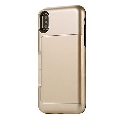 Capinha Para Apple iPhone X iPhone 8 Porta-Cartão Antichoque Capa traseira Côr Sólida Armadura Rígida PC para iPhone X iPhone 8 Plus