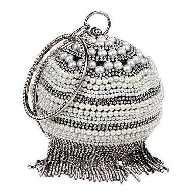 Damen Taschen Polyester Abendtasche Kunstperlen Knöpfe für Normal Ganzjährig Gold Schwarz Silber