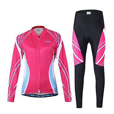 Arsuxeo Mulheres Manga Longa Calça com Camisa para Ciclismo - Roxo Rosa claro Moto Conjuntos de Roupas, Secagem Rápida, Respirável
