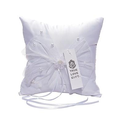 Satyna Zasznurować Pillow Pierścień Kwiatowy Motyw Ślub Na każdy sezon