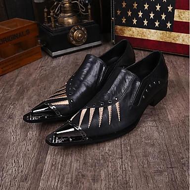 billige Oxfordsko til herrer-Herre Novelty Shoes Nappa Lær Vår / Sommer Vintage Oxfords Svart / Bryllup / Fest / aften / Nagle / Fest / aften / Komfort Sko