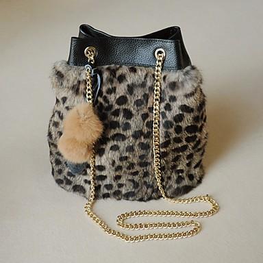 Damen Taschen Kuhfell Pelz Schultertasche Tasche für Normal Winter Herbst Schwarz Dunkelbraun
