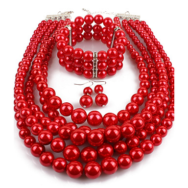 Women's Pearl Layered Jewelry Set - Imitation Pearl Statement, Ladies Include Drop Earrings Pearl Strands Pearl Necklace Red / Wine / Grey For Casual Evening Party