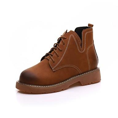 Damen Schuhe Wildleder Herbst Springerstiefel Stiefel Runde Zehe Oberschenkel-hohe Stiefel Schnürsenkel für Normal Schwarz Braun Khaki