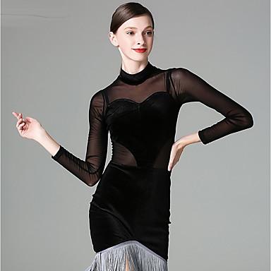 Taniec latynoamerykański Suknie Damskie Wydajność Tiul Szyfon aksamitowy Frędzel Długi rękaw Ubierać
