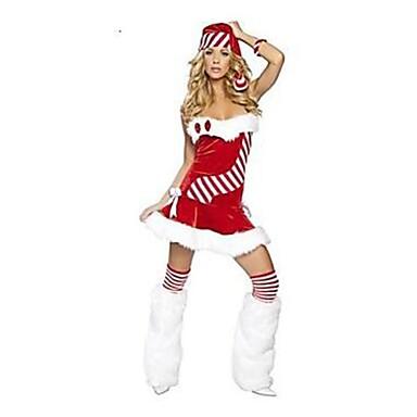Święto Mrs.Claus Święty Mikołaj Stroje Damskie Boże Narodzenie Festiwal/Święto Kostiumy na Halloween Czerwony Jendolity kolor Święta