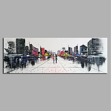 Hang-Malowane obraz olejny Ręcznie malowane - Abstrakcja Nowoczesny Płótno / Zwijane płótno