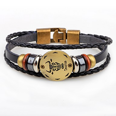 cheap Bracelets-Men's Zodiac Wrap Bracelet Leather Bracelet Leather Scorpio 10.24 - 11.22 Aries 3.21 - 4.19 Virgo 8.23 - 9.22 Fashion Bracelet Jewelry For Gift Date
