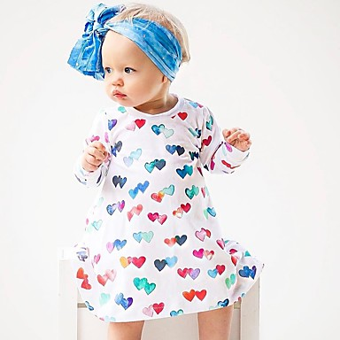 baratos Vestidos para Meninas-Bébé Para Meninas Activo Casual Para Noite Coração Férias Clássico Manga Longa Vestido Branco / Algodão / Fofo