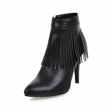 Damen Schuhe Kunstleder PU Winter Komfort Neuheit Modische Stiefel Stiefel Spitze Zehe Booties / Stiefeletten Tassel(n) für Kleid Party &