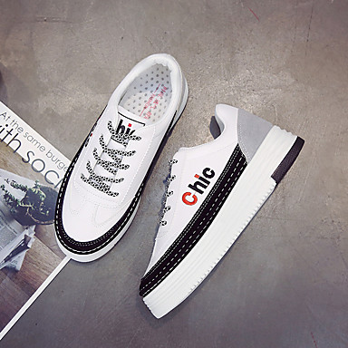 Women's Shoes PU(Polyurethane) Spring / Fall Comfort Athletic Shoes Flat Heel White / Black / Gray